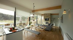 Open plan living space with modern furnishings